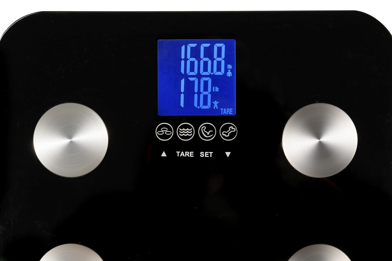 Ozeri Touch ZB13, Báscula corporal, capacidad 200 kilograms, mide peso, grasa, músculo, hueso e hidratación, negro: Amazon.es: Salud y cuidado personal