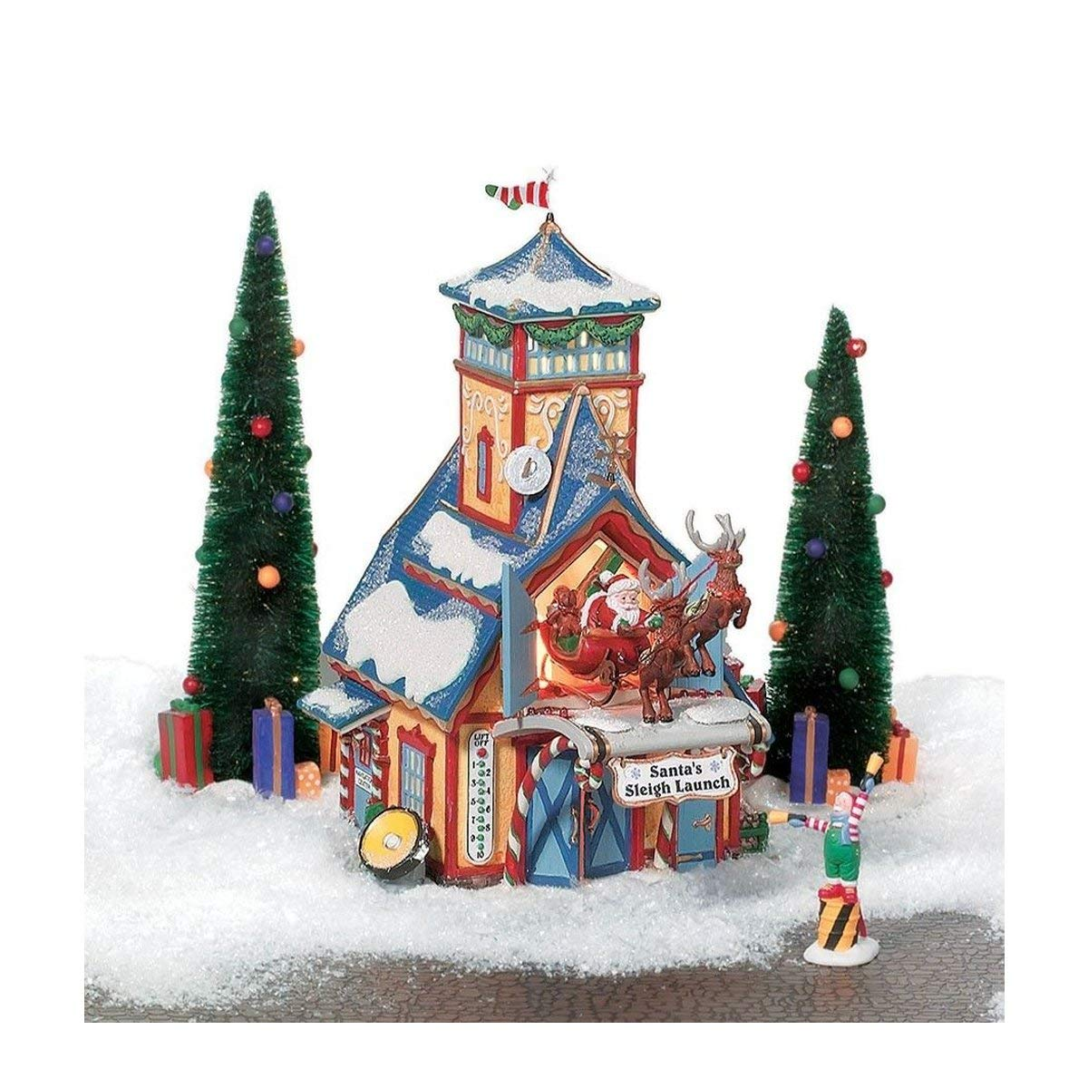 Santa's Sleigh Launch, Discover Department 56 Limited Edition Gift Set, 5 Piece Set, 56734, D56, North Pole Series, North Pole Village, Retired Collectible
