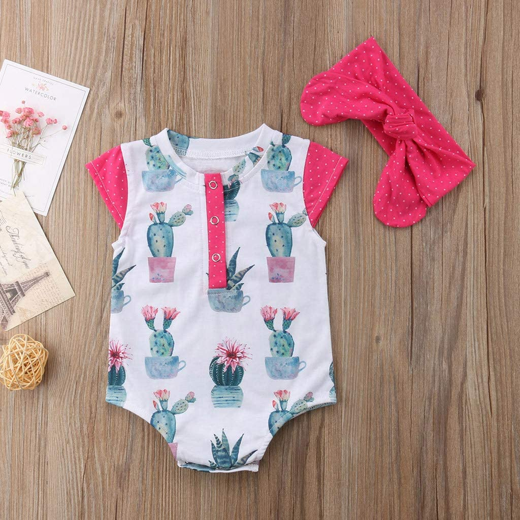 Headband Outfit Set Infant Printed Romper 2019 Fyhuzp 2PCS Newborn Baby Romper Girl Jumpsuit Bodysuit