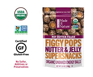 Made in Nature Organic Filled Figgy Pops, Nutter & Jelly, Fruit & Nut Energy Balls, Vegan Snack, 3.8 Ounce Resealable Bags, 6 Count