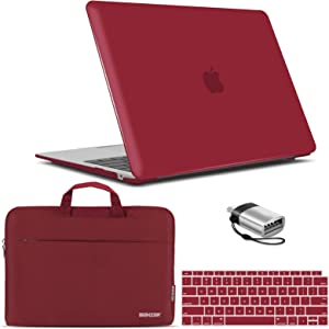 IBENZER New 2020 MacBook Air 13 inch Case M1 A2337 A2179 A1932, Hard Shell Case & Sleeve Bag & Keyboard Cover & Type C for Apple Mac Air 13 with Touch ID (2018-2020), Wine Red, MAT13-WR+3