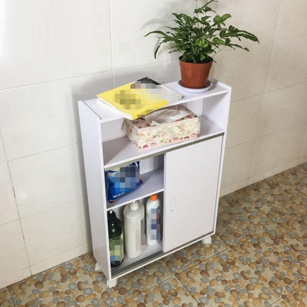 GL&G Bathroom Furniture Side cabinet waterproof Storage Paper pumping Toilet side cabinet Lockers, With caster Organize the shelves