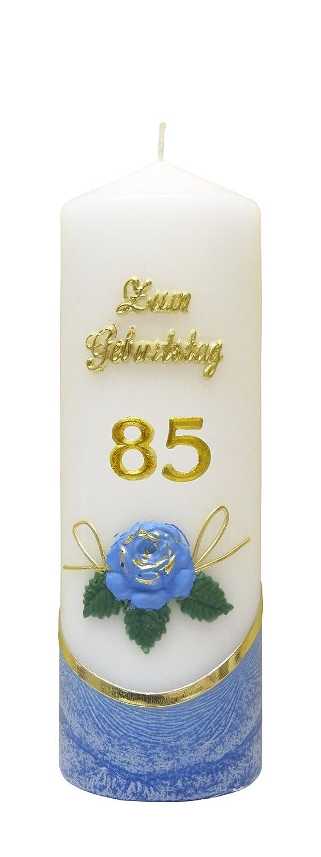 Jubiläumskerze / Geburtstagskerze ''Zum 85. Geburtstag'' * blau * m. farbigen Wachsauflagen * (Motiv #001) EWK