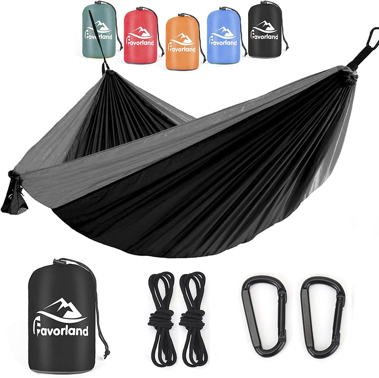 Favorland Camping Hammock Double Single with Tree Straps for Hiking, Backpacking, Travel, Beach, Yard – 2 Persons Outdoor Indoor Lightweight Portable with Straps Steel Carabiners Nylon