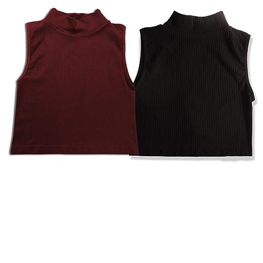 704f157b94a006 SPECIALMAGIC Women s Seamless Rib Knit Mock Turtleneck Sleeveless Crop Top  One Size Pack of 2 Black