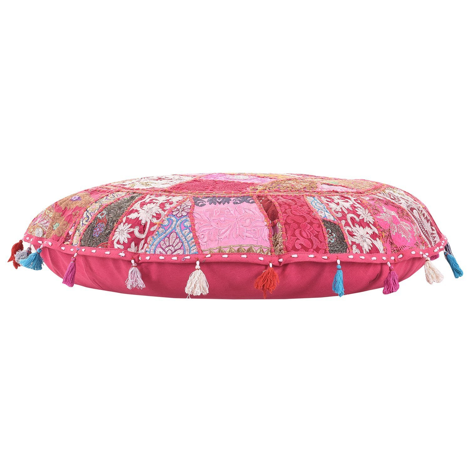 100/% Cotton Art Decor Cushion Bohemian Round Floor cushion,Traditional Vintage Indian Pouf Floor//Foot Stool Only Cover Filler not Included