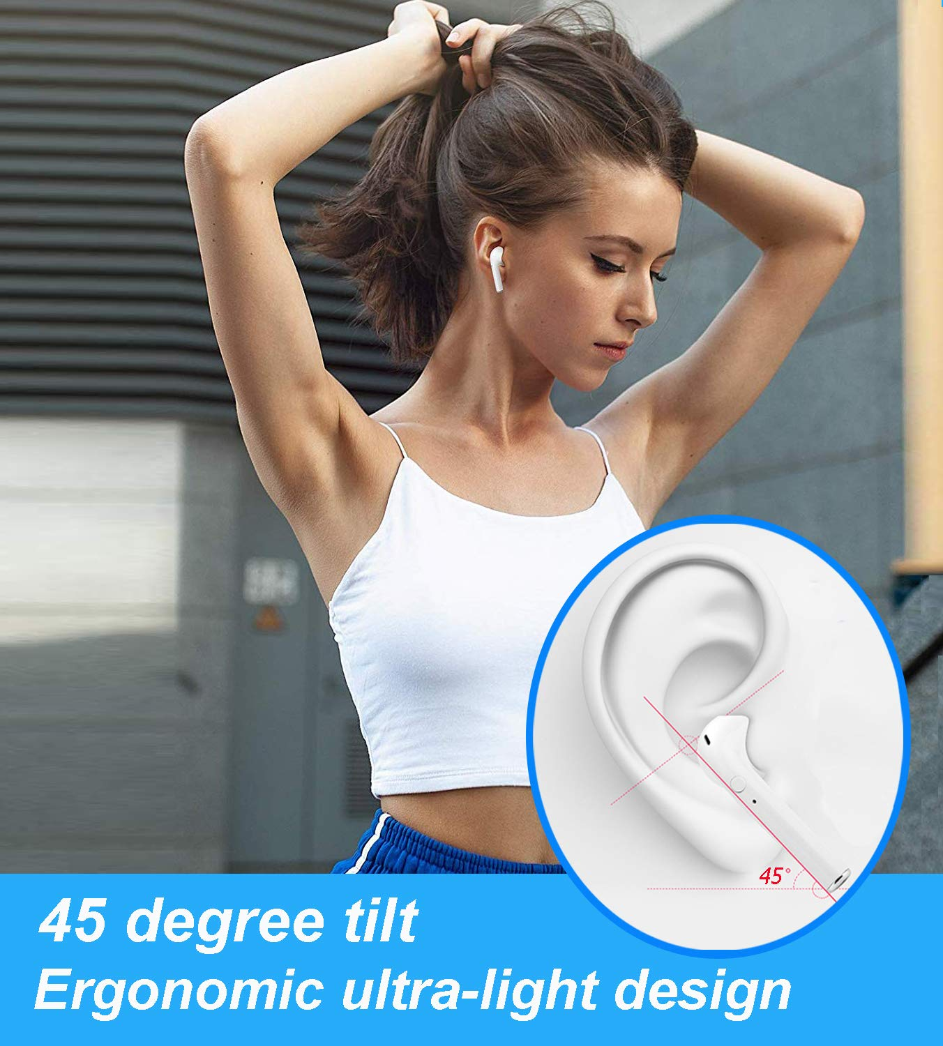 Bluetooth Headset 5.0 in-Ear Headphones Sports Headphones Smart Noise-Reducing Stereo Bluetooth Headset for Apple Airpods//Android//iPhone//Samsung