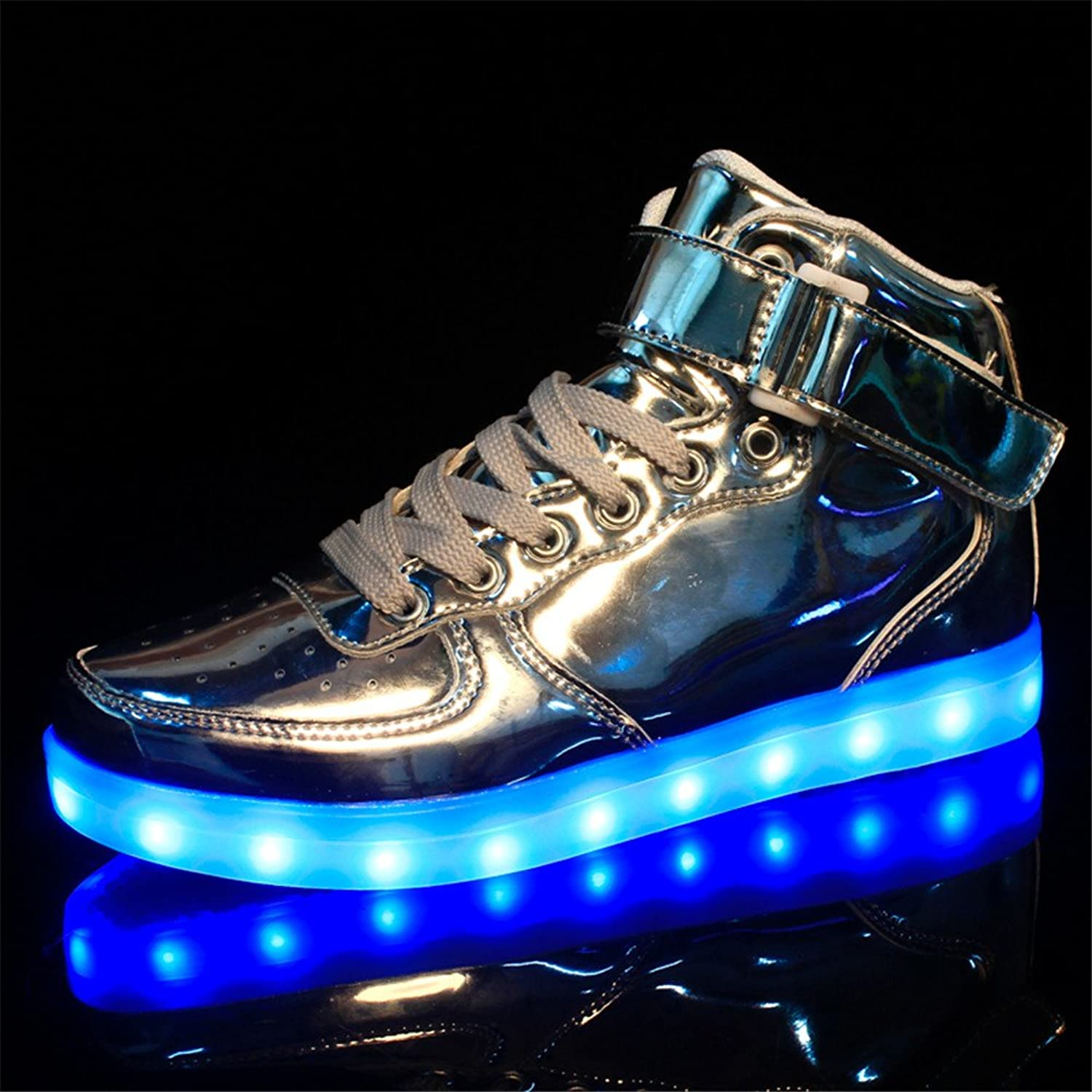 Amazon.com | AnnabelZ LED Shoes High Top Light Up Shoes Bling Flashing  Luminous Men Women Fashion Sneakers Sports Shoes Silver | Fashion Sneakers