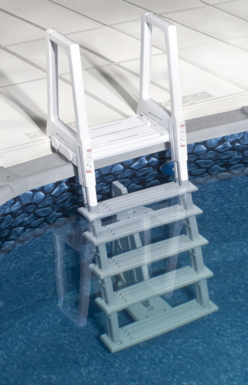 amazoncom 46 56 inch confer above ground swimming pool in pool ladder deluxe pool ladder patio lawn garden