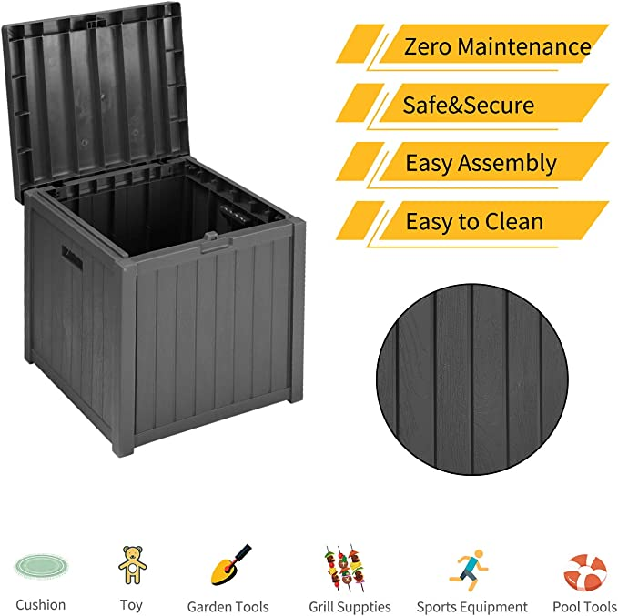 Outdoor Patio Medium Deck Storage Box Plastic Bench Box 51 Gallon Lightweight Storage Container and Organizer for Furniture Cushions,Garden Tools and Pool Toys