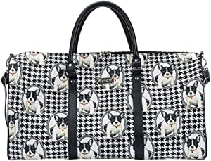 Black and White French Bulldog Big Holdall by Signare/Ladies Travel Hand Luggage/BHOLD-FREN