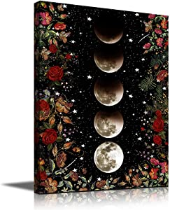 Moon Wall Decor For Bedroom Bathroom Decor Wall Art Black and White Wall Art Moon Phase Flower Canvas Wall Art Red Rose Floral Wall Art Boho Wall Decor For Girls Women Room Decor Aesthetic Room Decor