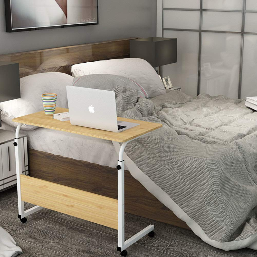 F 60x40cm(24x16inch) C Shaped Bedside Table,Adjustable Height Computer Desk for Bed,Laptop Desktop Table Stand Mobile Overbed Table Hospital Home-b 80x40cm(31x16inch)