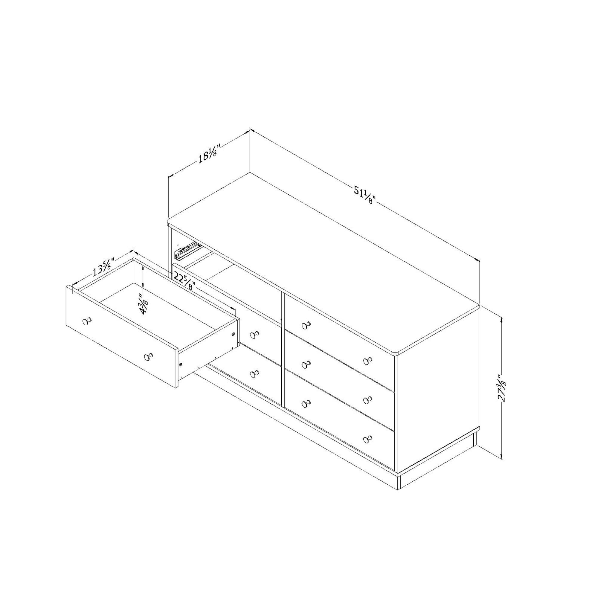 South Shore Litchi 6-Drawer Double Dresser, Pure White with Nickel Finish Knobs by South Shore (Image #3)