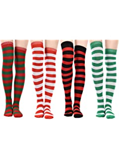 2f0c02b2f Jovitec 4 Pairs Long Striped Socks Knitted Knee Thigh High Socks for St.  Patrick s Day