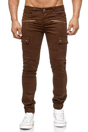 Herren Jeans Slim Fit Joggjeans Biker Knie Chino Hose Cargo Taschen  H2057,Braun,W28