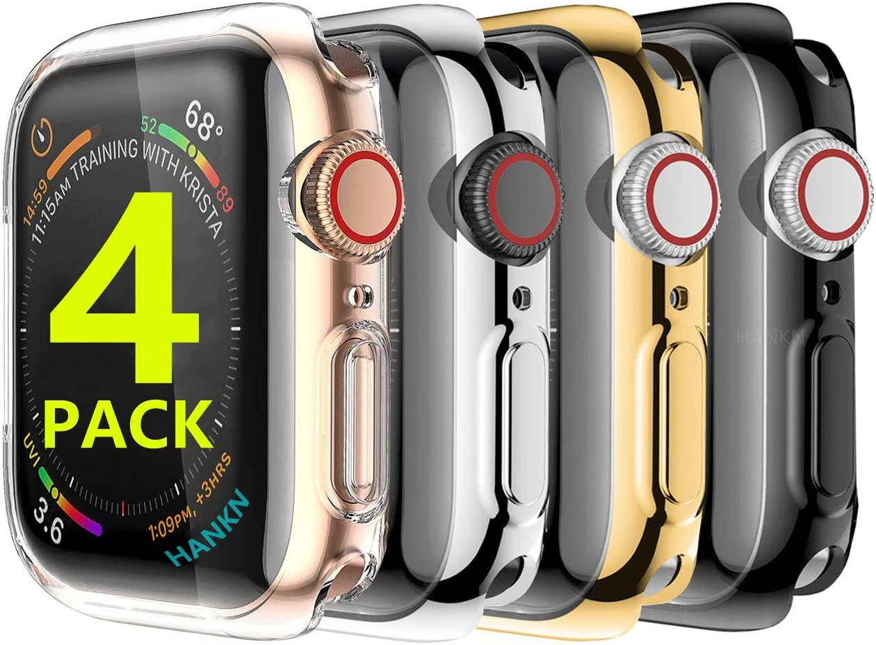 [4 Pack] Hankn for Apple Watch Series 6 SE 5 4 Screen Protector Case 40mm, Soft TPU Full Coverage Plated Shockproof Smartwatch iWatch Cover Bumper (Clear+Silver+Gold+Black, 40mm)