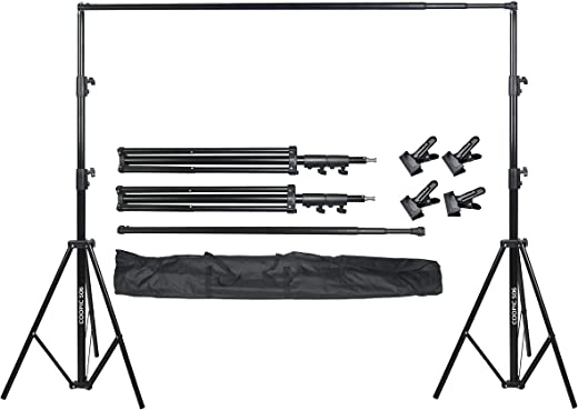 COOPIC S06 2.8 X 3.2 meters Heavy Duty Adjustable Backdrop Support System Photography Studio Video Stand With 4 Pcs Background Clip