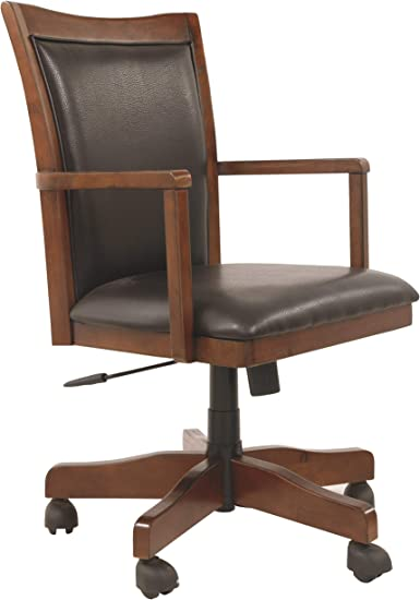 Amazon Com Signature Design By Ashley Hamlyn Home Office Swivel Desk Chair Medium Brown Furniture Decor