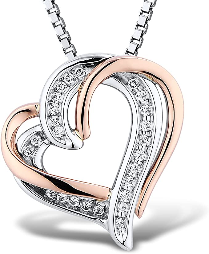 D//VVS1 Round Cut Clear Diamond Accent Heart Pendant With 18 Chain In 10K Yellow Gold Plated 925 Silver