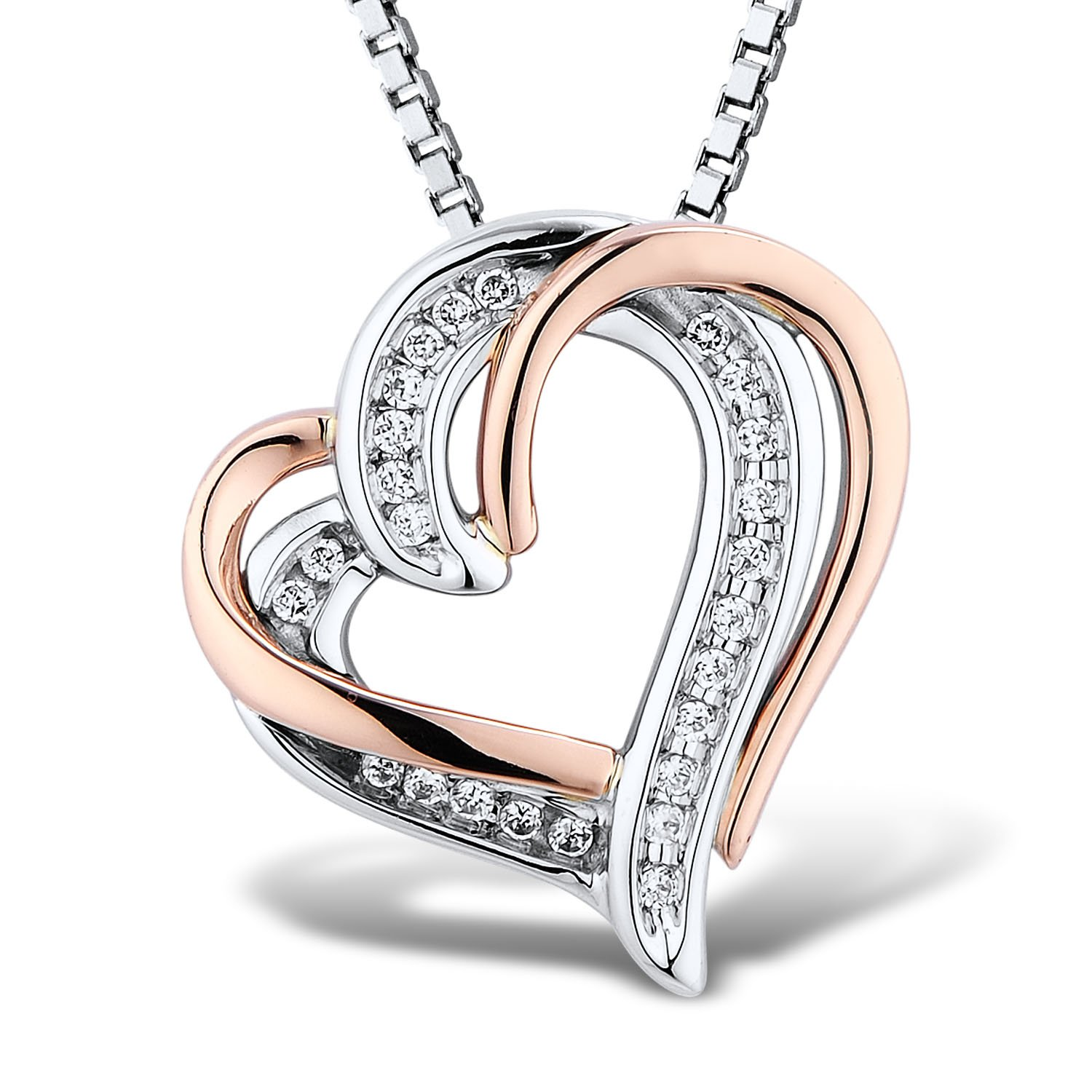 Diamond Heart Necklace 1/10 cttw in Sterling Silver and 10k Rose Gold - 18 Inch Chain by Diamond Classic Jewelry