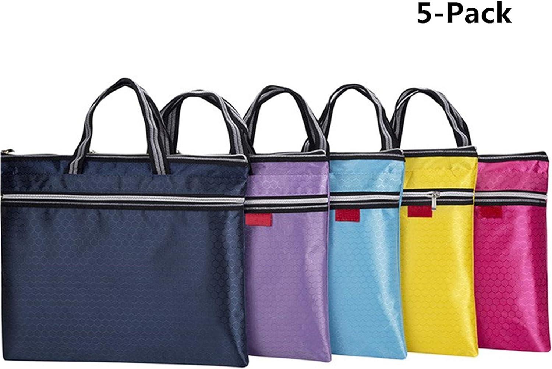 DIYOMR - 5 maletas portables con cremallera y asa, portadocumentos para A4, portafolios para libros, papeles, cuadernos, archivos (al azar, 5 colores no repetidos): Amazon.es: Oficina y papelería