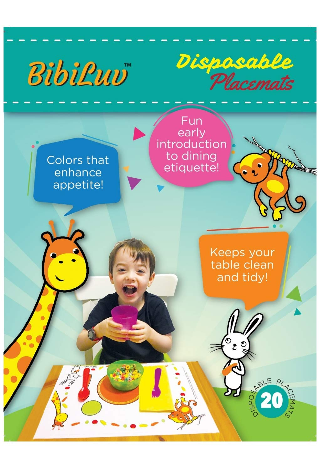 Sticky Adhesive Disposable Placemats Baby 60 Count Stick-on Kids Table Toppers Feeding Mat for Toddlers Children Mealtimes BPA Free Plastic by BibiLuv