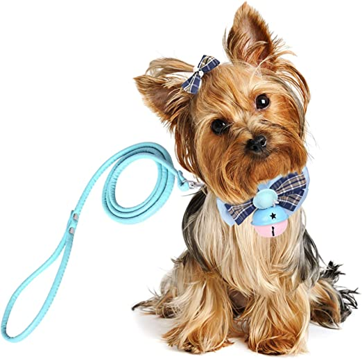 Vavopaw Pet Bow Tie, [3 Pack] Elegant Pet Collar Set with Bell Clip Leash Puppy Bow Knot Adjustable Pet Neck Tie Choker Necklace Decoration Accessories, Small Size - Light Blue: Amazon.es: Productos