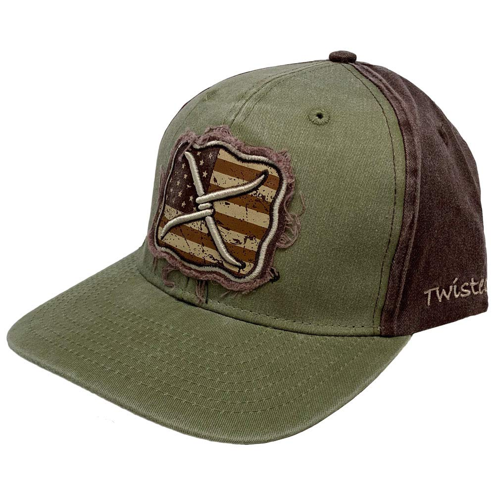 Twisted X American Flag Distressed XC-132 Adjustable Ballcap Olive//Brown