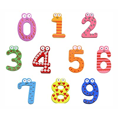 PENTA ANGEL 10Pcs Wooden Magnets Fridge Numbers Large Cute Wood Magnetic Refrigerator Learning Game Toys for Kids Baby Girls Boys Toddler Preschool Educational(Number): Toys & Games
