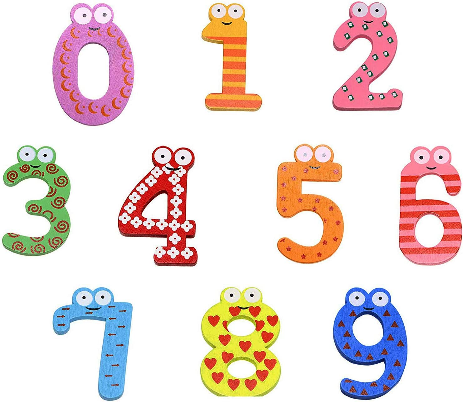 PENTA ANGEL 10Pcs Wooden Magnets Fridge Numbers Large Cute Wood Magnetic Refrigerator Learning Game Toys for Kids Baby Girls Boys Toddler Preschool Educational(Number)