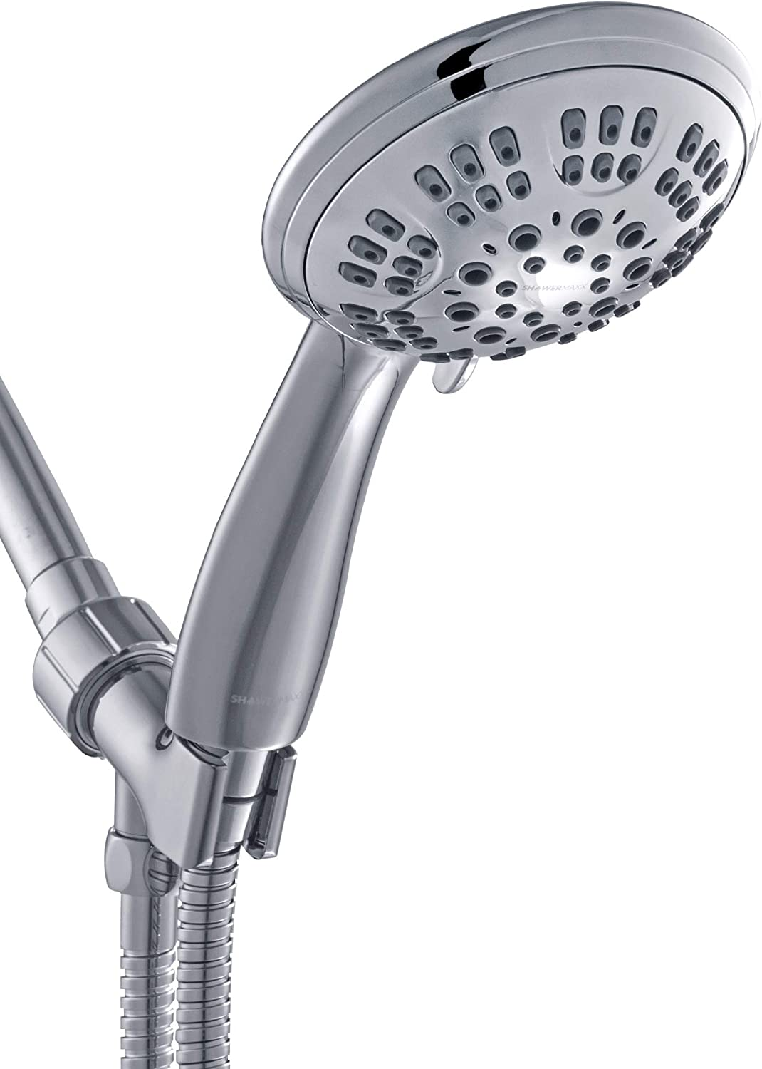 MAXX-imize Your Shower with Easy-to-Remove Flow Restrictor Choice Series Polished Chrome Finish ShowerMaxx 3 Spray Settings 4.4 inch Hand Held Shower Head with Extra Long Stainless Steel Hose