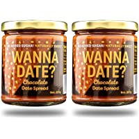 Wanna Date? Chocolate Date Spread, Vegan, Paleo Friendly, Gluten-Free, Dairy-Free, Non-GMO, No Added Sugar, No Cane Sugar, Whole30 Compliant, Healthy Sugar Substitute, Sugar Free Alternative (2 Jars)