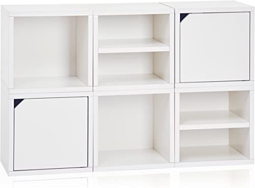 Way Basics 6 Modular 3 – in – 1 Shelf Connect Cube Storage System, White Tool-Free Assembly and Uniquely Crafted from Sustainable Non Toxic zBoard paperboard