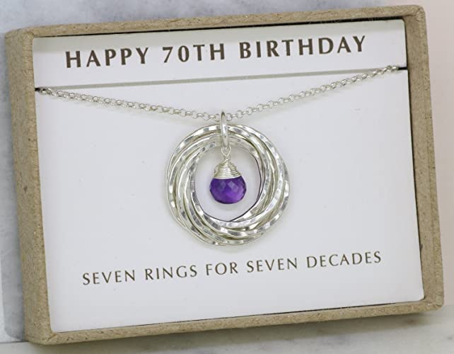 70th Birthday Gift For Mom February Birthstone Necklace Mother