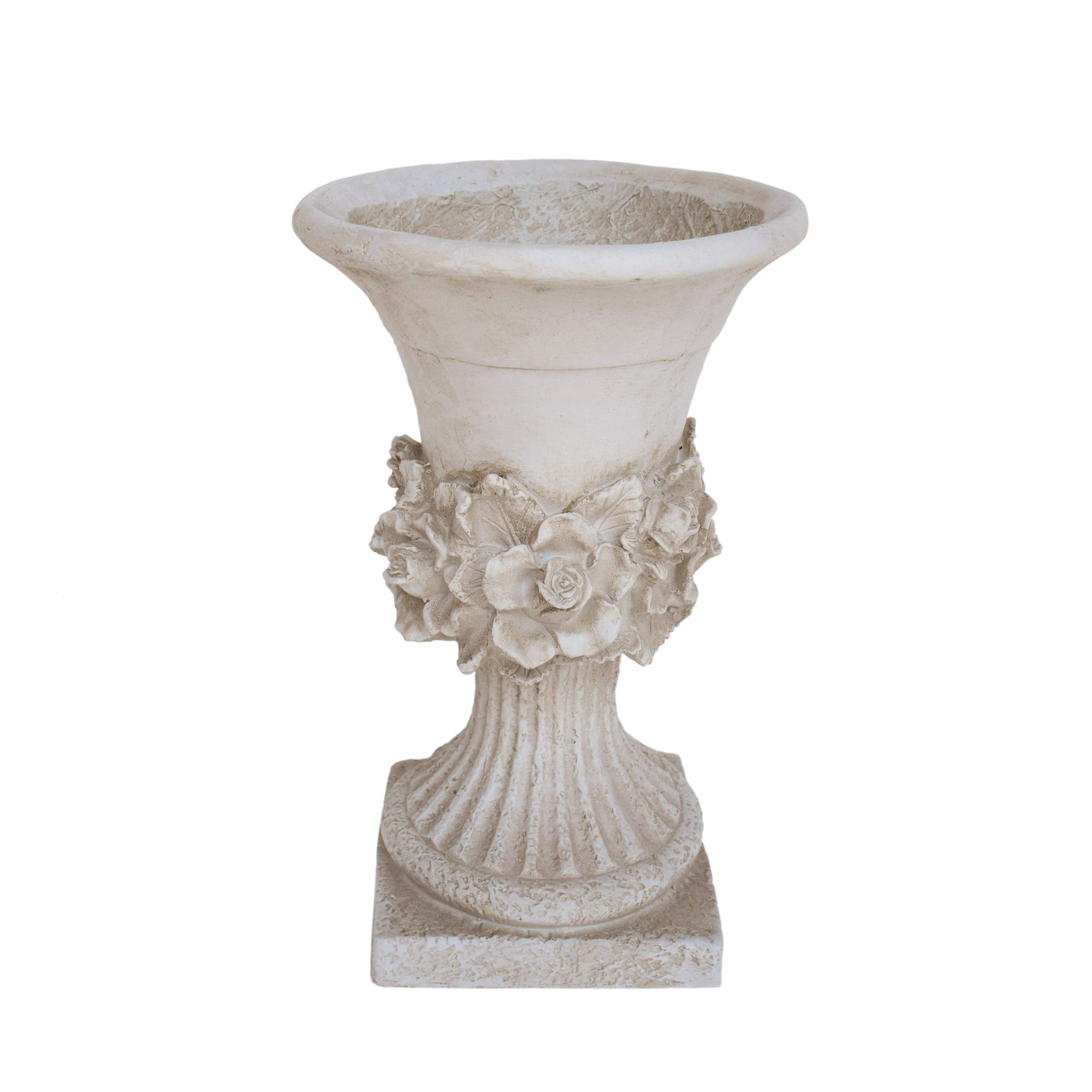 Great Deal Furniture Michaelia Chalice Garden Urn Planter, Roman, Botanical, Antique White Lightweight Concrete