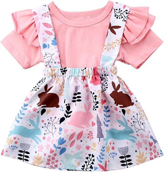 d2da3c08de52 Toddler Baby Girl Easter Clothes Skirt Set Ruffle Sleeves Top+ Rabbit Print  Floral Suspender Skirt Tutu Dress Outfits