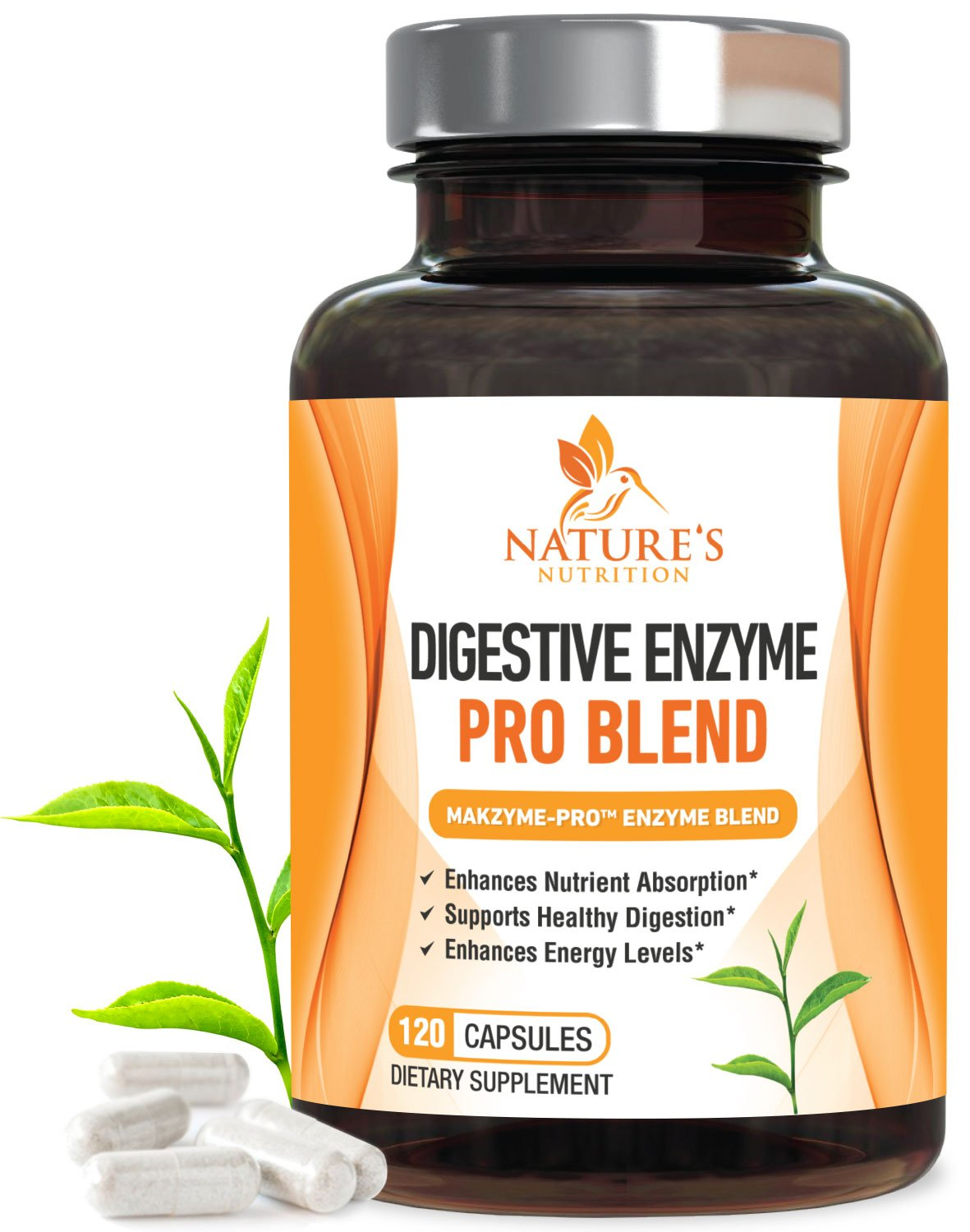 Digestive Enzymes Plus Prebiotics & Probiotics 1000mg - Natural Pancreatic Support Supplement for Better Digestion - Gas, Constipation & Bloating Relief by Nature's Nutrition - 120 Capsules by Nature's Nutrition
