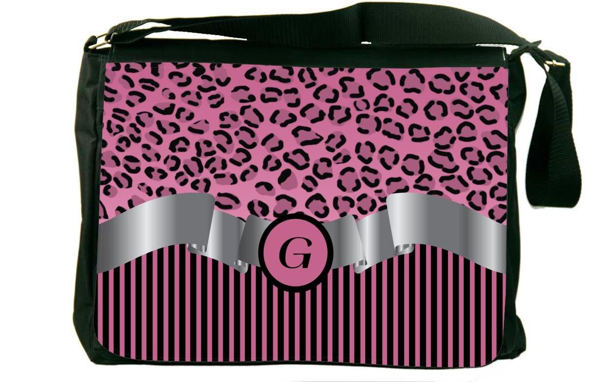 Rikki Knight LetterG Light Pink Leopard Print Stripes Monogram Design Messenger School Bag mbcp-cond2310