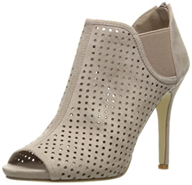 Madden Girl Women's Ranked Ankle Bootie, Taupe Fabric, ...