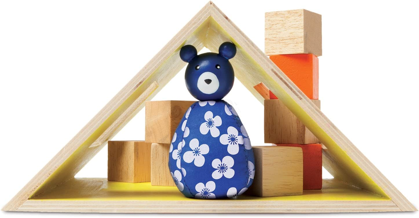 MiO Camping + Bear Animal Bean Bag Peg Doll Imaginative Montessori Style STEM Learning Wooden Building Playset for Boys and Girls 3 Years + Up by Manhattan Toy