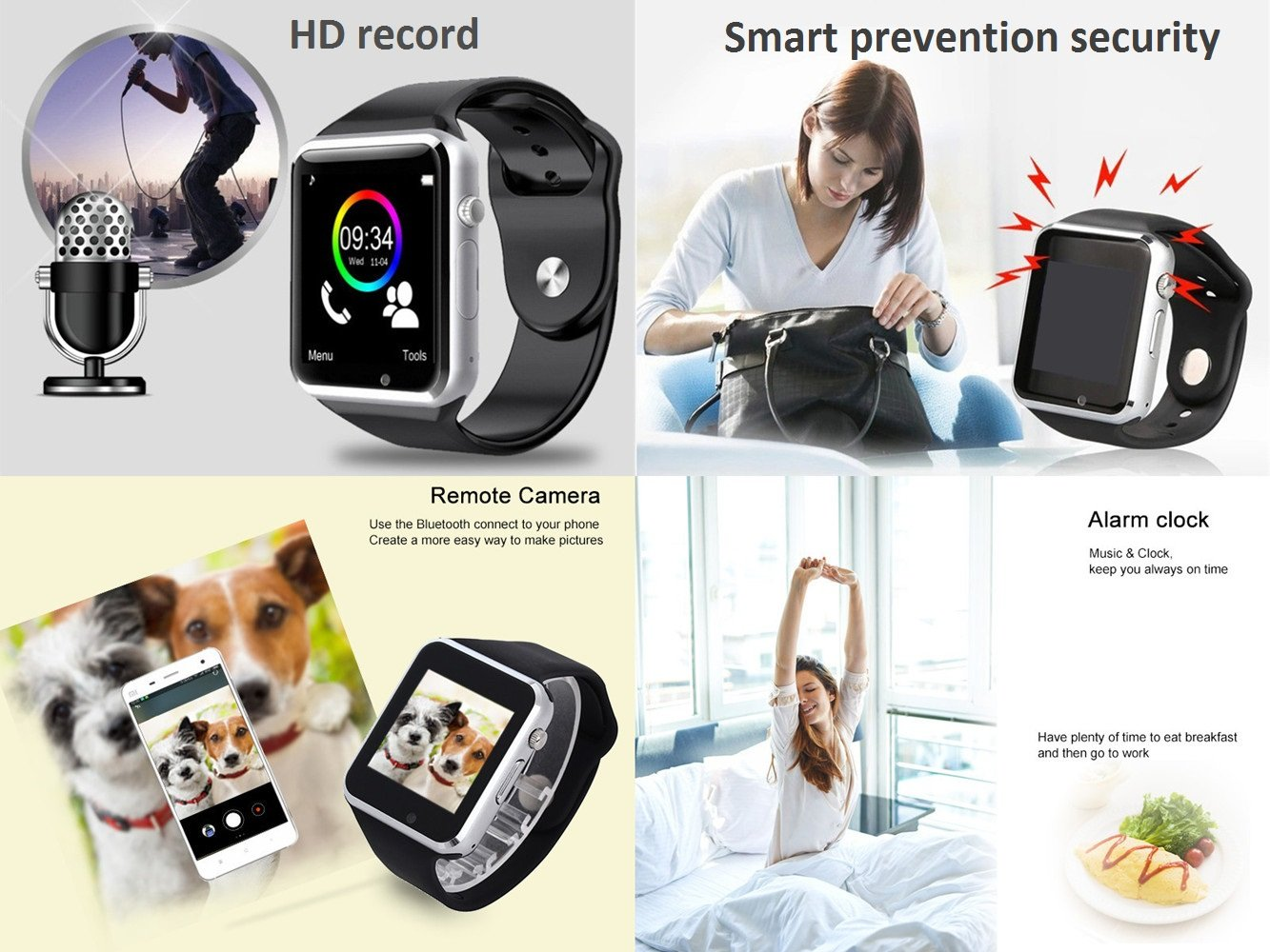 Smart Watch - 321OU Touch Screen Bluetooth Smart Wrist Watch Smartwatch Phone Fitness Tracker with SIM SD Card Slot Camera Pedometer for iPhone iOS Samsung LG Android for Women Men Kids (Black) by 321OU (Image #5)