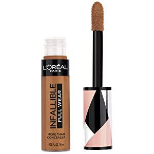 L'Oréal Paris Makeup Infallible Full Wear Concealer, Full Coverage, EXTRA LARGE Applicator, Waterproof, Multi-Use Concealer to Shape, Cover, Contour & Sculpt, Matte Finish, Cocoa, 0.33 fl. Oz.