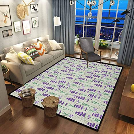 Amazon Com Lavender Decor Carpets For Kitchen Floor Laundry Living Room Botanical Pattern With Fresh Herbs Aromatherapy Spa Theme Pale Sage Green Violet And Green39x60 Inch Kitchen Dining
