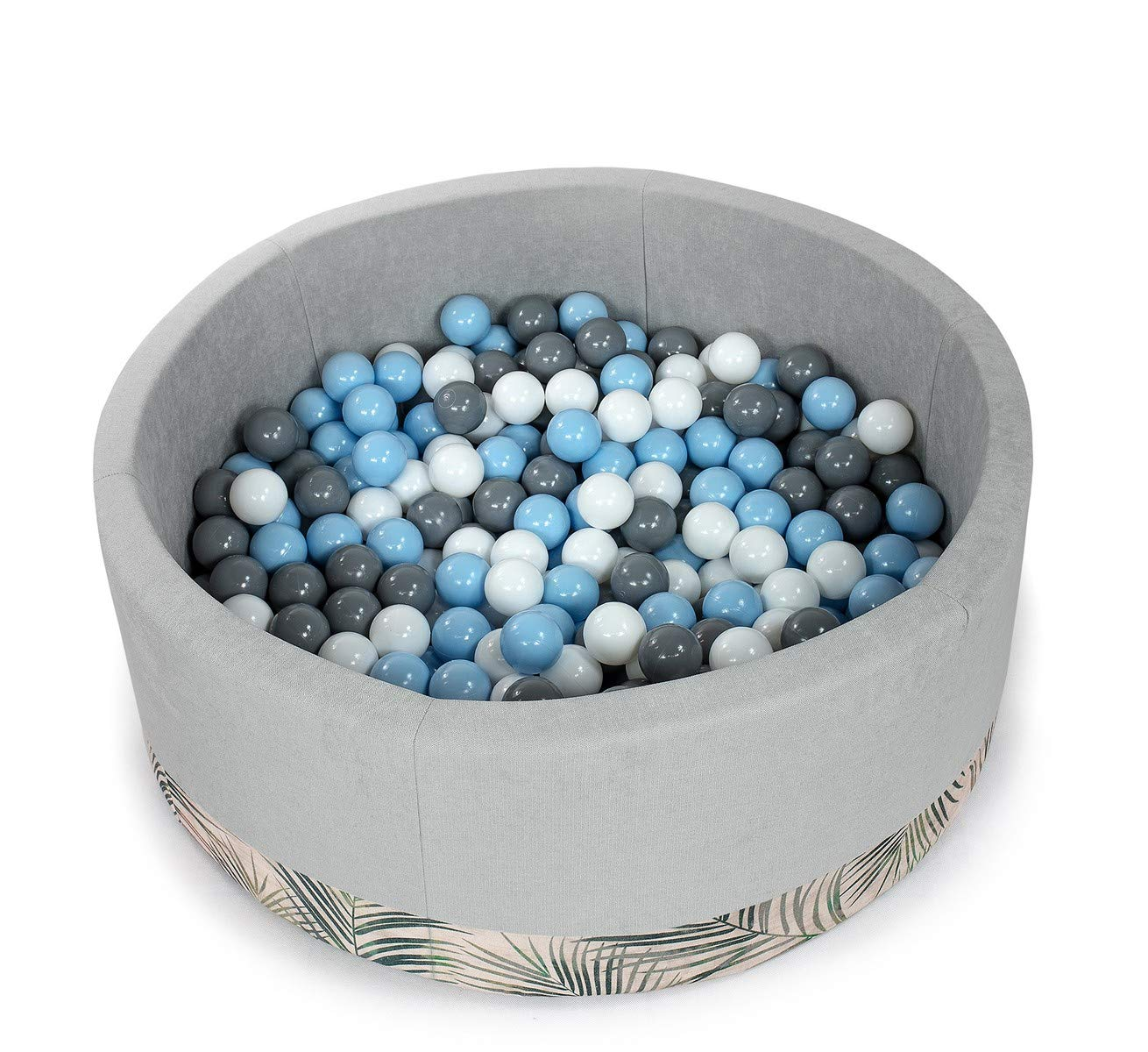Tweepsy Soft Baby Kids Play Round Ball Pool Pit 250 Balls 90x30cm Handmade EU -BKODP5N - palm-light grey pool: baby pink, white, grey Kids Ball Pool Pit