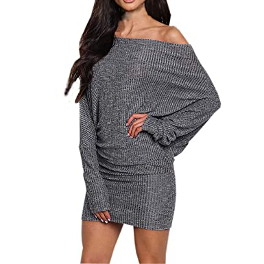 68cf9348f8a50 FeiXiang Robe de Soiree Mode Robe Pull Femme Casual Sexy Manches Longues  Solide Tricot Robe Pull