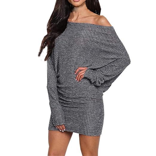 d4fac097592 Cenglings Women s Sexy Fall Off Shoulder Knitted Sexy Loose Batwing Sweater  Dress Women Long Shirt Blouse