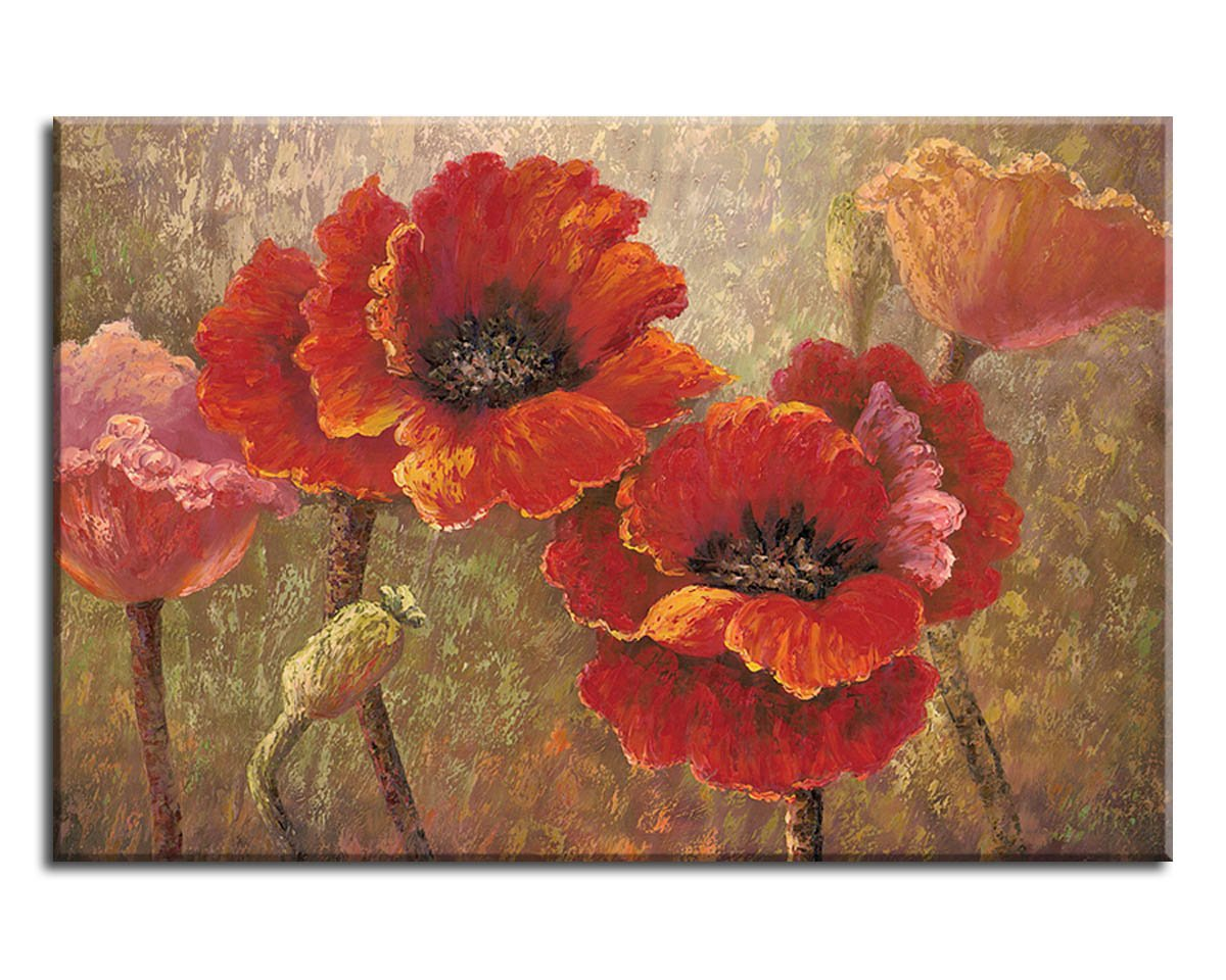 Amazon Yearainn Canvas Wall Art Red Flower Painting Framed Wall