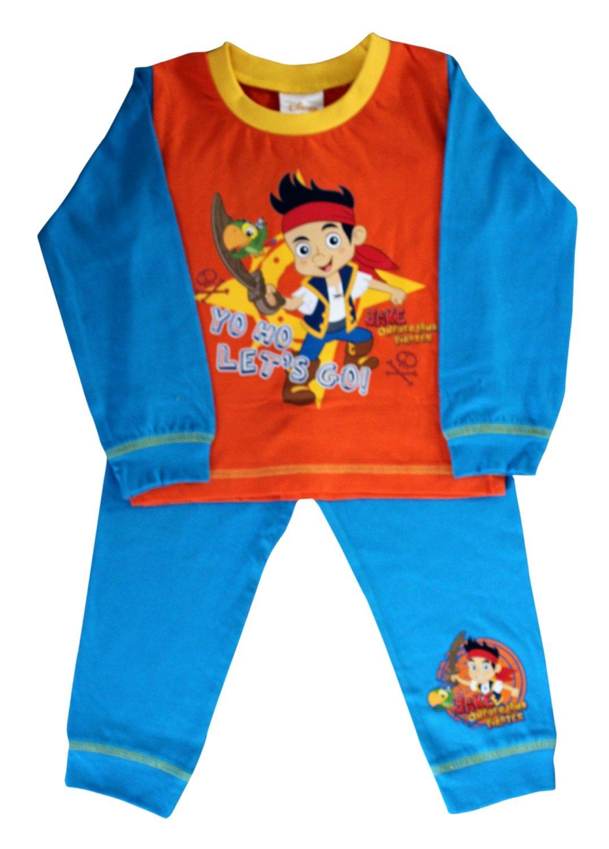 Disney - Jake Never Land Pirates Official Certified Boy's Full Sleeves Pyjama Shirt Set Orange & Blue Cotton Pyjamas (18-24 Months)