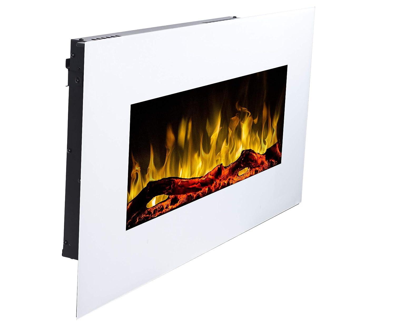 Chimenea el/éctrica Albion 33 Chimenea de pared Profundidad solo 14 cm 750 W o 1500 W | Simulaci/ón de fuego LED